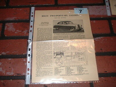 Riley Two-Point-Six Motor Trader Service Information Sheets. Free U.k. Post