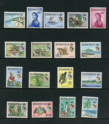 Dominica 1963 #164-180  QEII birds waterfalls frogs fruit  17v.  MNH  J273