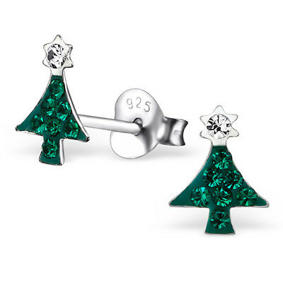 925 Sterling Silver Crystal Christmas Tree Cute Stud Earrings Noel & Gift Box
