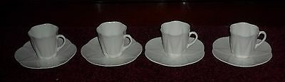Art Deco Shelley Dainty White Demitasse Cups And Saucers  Early Stamp