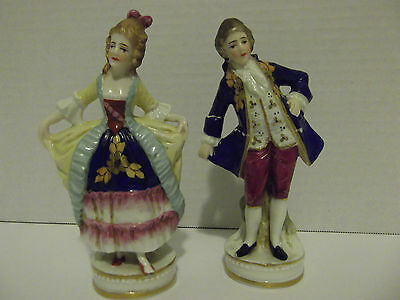 Antique Porcelain Man &  Woman Figurine Pair-Marked by Maker
