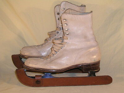 Pair of Vintage Leather size 3 and 1/2 Ice Skates John Wilson Blades