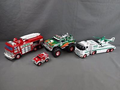 Hess Truck Lot of 3 2005 Fire Engine 2007 Monster & 2006 Helicopter Transporter