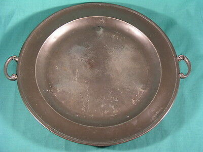 "Antique Pewter Tray / Plate Twin Handled with 3 Bun Feet 12"" inch dia."