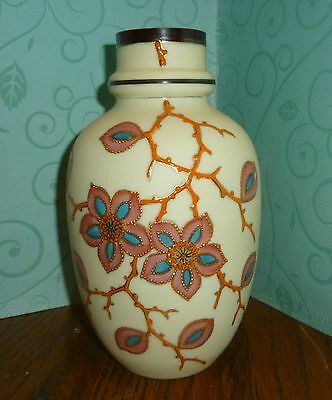 Antique Bohemian Art Glass Vase with Flower Vine Decoration