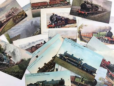 34 Early 1900s Postcards Railway Trains Locomotives Tucks and others
