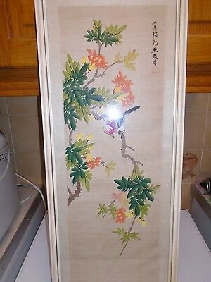 Attractive ,vintage Chinese Painting On Silk, Bird Amongst Branches