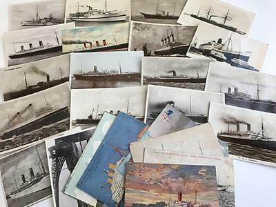 30 Early Postcards Steam Ships White Star Cunard P&O Various Shipping Lines