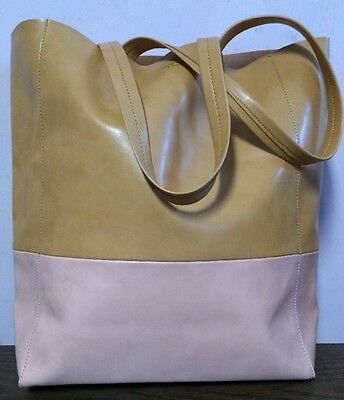SORIAL Large Two Tone Pink & Camel Tan Faux Leather Tote Bag