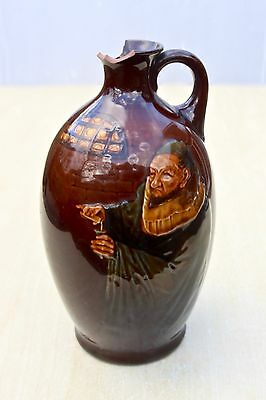 VINTAGE c1900's MONK IN THE CELLAR ROYAL DOULTON KINGSWARE WHISKY FLASK FLAGON