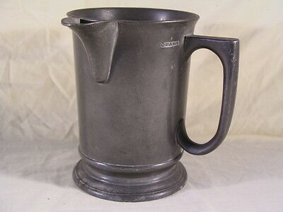Antique Pewter Quart Spouted Tankard Measure VR 549 insc base The Bell Guildford