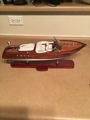 "Riva Aquarama Speed Boat 21"" Handmade Wooden Model Boat Decoration"