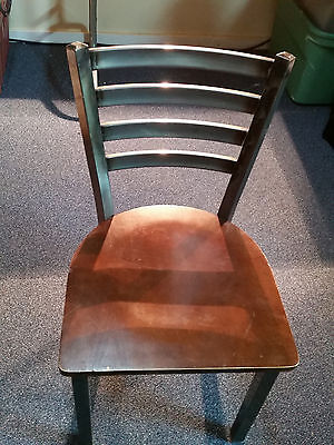 Ladder Back Clear Coated Metal Restaurant Chair - Mahogany Wood Seat