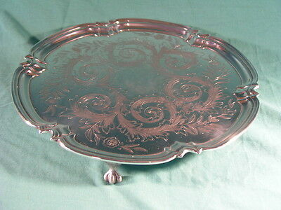 """Vintage Silver Plated Salver Tray Cooper Brothers 3 claw feet 12"""" diameter"""