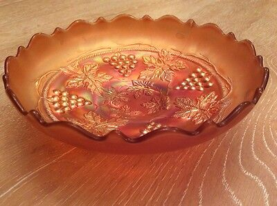 Carnival Glass Northwood Grape And Cable Variant Pastel Marigold Plain Back Bowl