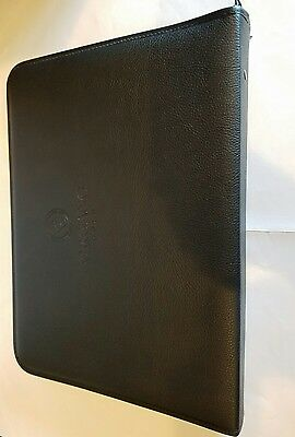 O G Leather Portfolio Zip Around Folder Notebook Document Card Holder Case
