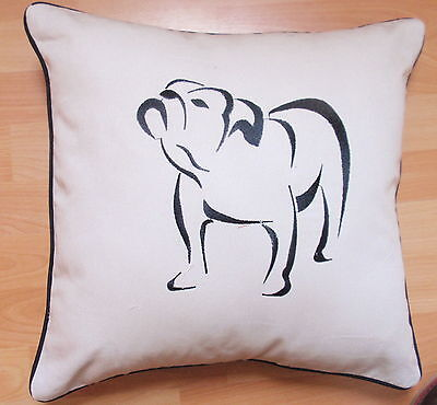 BN- BULLDOG EMBROIDERED SKETCH -cotton CUSHION COVER- LOVELY