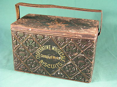 Co-Operative Wholesale Biscuits Tin Labor and Wait Wheatsheaf Motif Advertising