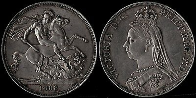 narkypoon Virtually UNCIRCULATED 1888 Narrow Date Victoria STERLING SILVER Crown