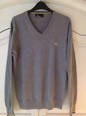 Mens Grey Fred Perry V-neck Jumper Size S