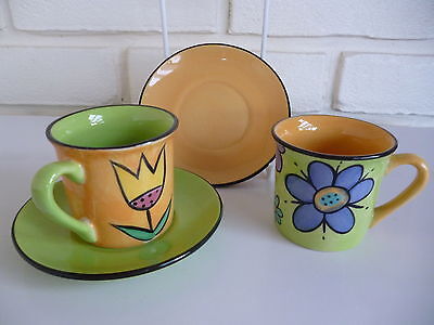 Espresso Coffee Cups & Saucers X2 Whittard Of Chelsea