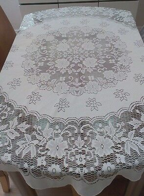 "Vintage White Round Machine Lace Floral Tablecloth ~ 54"" In Diameter"