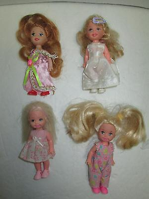 VIntage 1994 Mattel Barbie KELLY & FRIENDS Lot of 4 Dolls with Outfits And Shoes