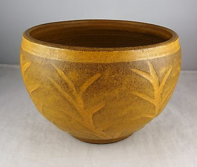 Art Pottery Incised Dated & Signed E.L. 1951 Brown Bowl/Vase - Plant Motif