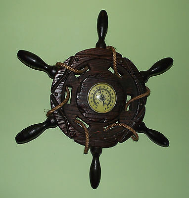 Nautical Wooden Ship's Wheel Thermometer Wall Decoration
