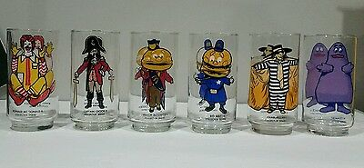 6x McDonalds Drinking Glasses 1970s Original Collector Series Vintage