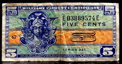 1954-1958 US Military Payment Certificate Five Cents Series 521 KL# M29
