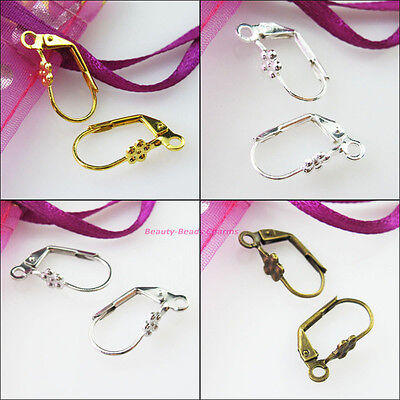 20Pcs Flower Star French Earring Hook DIY 9x17mm Gold Dull Silver Bronze Plated