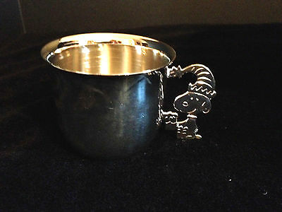 Snoopy Christmas Clown Hat Silverplated Silverplate Baby Child's Cup Peanuts