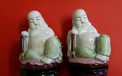2xAntique Qing Dynasty Fat Happy Sleeping Budda Chinese Peace Happiness Bhuddist