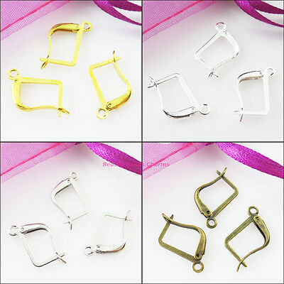 20Pcs Square French Earring Hooks 12x20mm Gold Dull Silver Bronze Plated