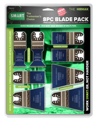 Smart H8MAK Multi Tool Blade Set of 8 with Quick Release Fitment