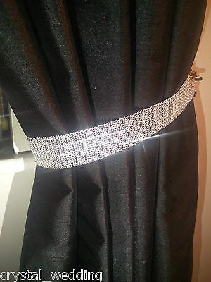 Pair (x2) Of Diamante Effect Crystal Tie Backs Curtains & Voiles  NO STONES