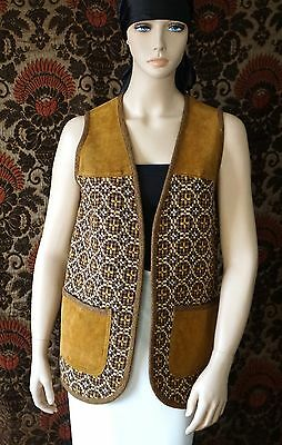 Vintage Hand Woven Welsh Wales Wool & Suede Vest Size 36 Boho Chic