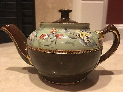 Brown Sadler Teapot w/ Gold Trim & Floral Design Made In Staffordshire England