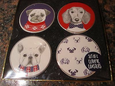 Set of 4 Ceramic Coasters - Dachshund - French Bulldog - Pug - NEW in Box