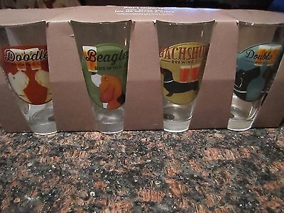 (4) Ale Dogs Beer Pub Glasses Set - New in Box - Beagle - Dachshund Weiner Dog