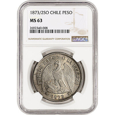 1873/2 So Chile Silver Peso - NGC MS63