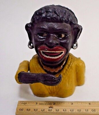 Cast Iron Black Americana DINAH Vintage Mechanical Coin Bank 5 inch SHIPS NOW