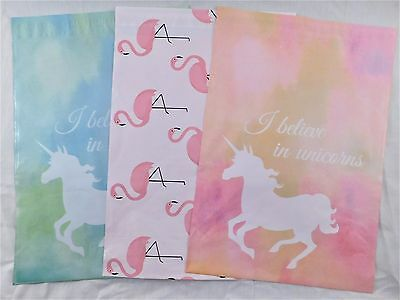 30 Designer Unicorn Pink Flamingo 10x13 Mailer Poly Shipping Envelope Bag