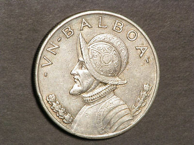 PANAMA 1934 1 Balboa Silver Crown VF+
