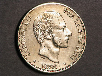 PHILIPPINES 1882 50 Centimos Silver VF-XF