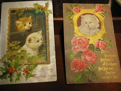 2 ANTIQUE POSTCARDS WITH CATS KITTENS GREETING / CHRISTMAS c 1910