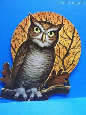 Vintage Halloween Owl on Branch Full Moon Die Cut Out Decoration USA