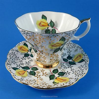 Royal Albert Yellow Roses on Gold Chintz Design Tea Cup and Saucer Set