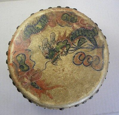 Antique Drum Chinese Wood and Skin Painted Toy